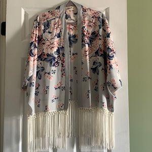 Abercrombie Fringe Floral cardigan